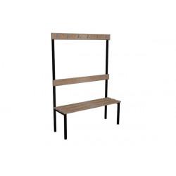 Šatní lavička EVA, dřevo, s opěrkou a háčky