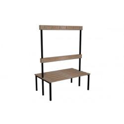 Šatní lavička EVA, dřevo, s opěrkou a háčky, oboustranná