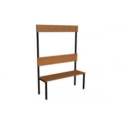 Šatní lavička EVA, lamino, s opěrkou a háčky