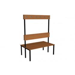 Šatní lavička EVA, lamino, s opěrkou a háčky, oboustranná