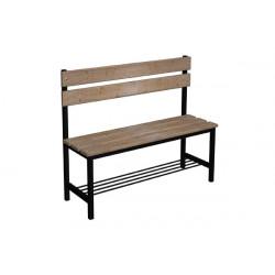Prémiová šatní lavička BÁRA, s opěrkou, dřevo x LTD