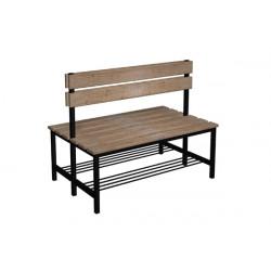 Prémiová šatní lavička BÁRA oboustranná, s opěrkou, dřevo x LTD