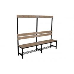 Prémiová šatní lavička BÁRA, s opěrkou a háčky, dřevo x LTD