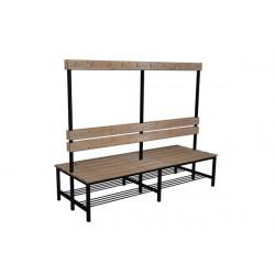 Prémiová šatní lavička BÁRA oboustranná, s opěrkou a háčky, dřevo x LTD