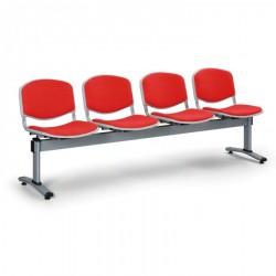 Čalouněná lavice LEVITO, 4x sedák, červená