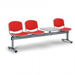 Čalouněná lavice LEVITO, 3x sedák + stolek, červená