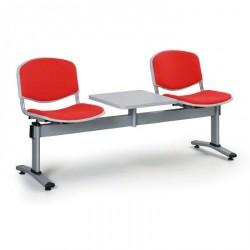 Čalouněná lavice LEVITO, 2x sedák + stolek, červená