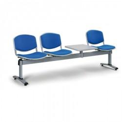 Čalouněná lavice LEVITO, 3x sedák + stolek, modrá