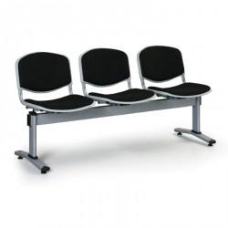 Čalouněná lavice LEVITO, 3x sedák, černá