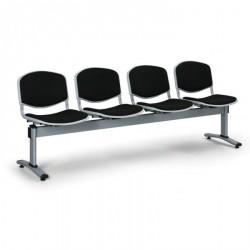 Čalouněná lavice LEVITO, 4x sedák, černá
