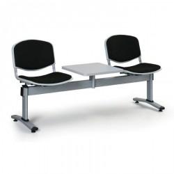 Čalouněná lavice LEVITO, 2x sedák + stolek, černá
