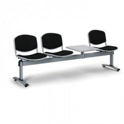 Čalouněná lavice LEVITO, 3x sedák + stolek, černá