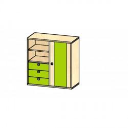 Skříň s policemi, dveřmi a zásuvkami BURGUNDA P 92 cm