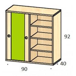 Střední skříň s policemi a posuvnými dveřmi BUKURIJA 92 cm