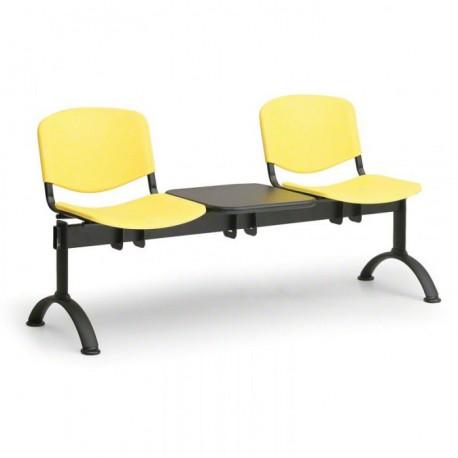 Plastová lavice do chodeb ASO, 2x sedák + stolek, žlutá