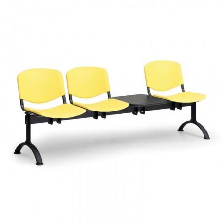 Plastová lavice do chodeb ASO, 3x sedák + stolek, žlutá