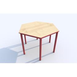 Stůl SIMONA, šestiúhelník, s barevnou hranou
