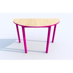 Stůl SIMONA půlkruh, s barevnou hranou