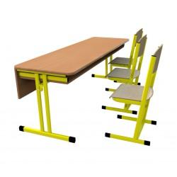 Školní žákovská sestava HUBERT třímístná: lavice + 3 židle