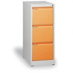 Kartotéka A4, kovová, 3 zásuvky JOHANA, oranžová