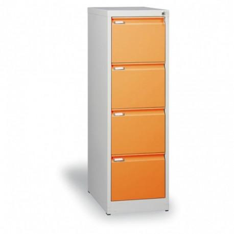 Kartotéka A4, kovová, 4 zásuvky JOHANA, oranžová