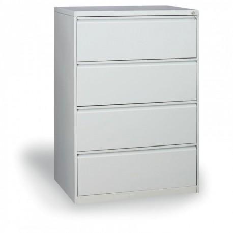 Dvouřadá kartotéka A4, kovová, 4 zásuvky JOLANA, šedá