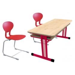 Sestava PERFO + FLEXI dvoumístná -školní lavice a židle