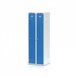 Kovová šatní skříň HOKO, bez soklu, modrá