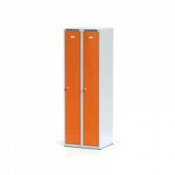 Kovová šatní skříň HOKO, bez soklu, oranžová