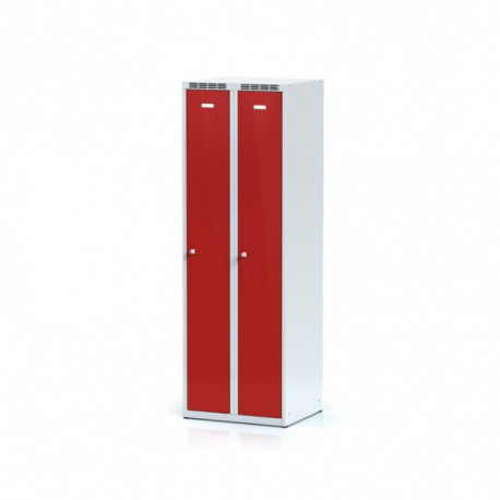 Kovová šatní skříň HOKO, bez soklu, červená