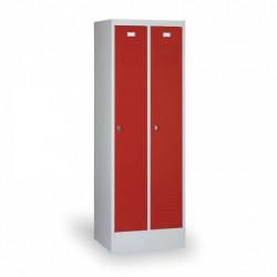 Kovová šatní skříň HOKO, se soklem, červená