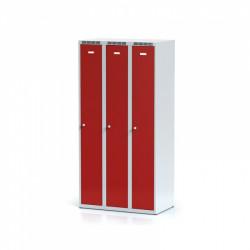 Kovová šatní skříň HOKO III, bez soklu, červená
