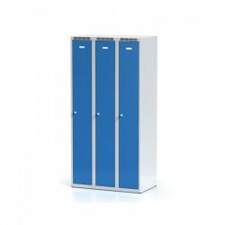 Kovová šatní skříň HOKO III, bez soklu, modrá