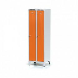 Kovová šatní skříňka HOKO, na nohách, oranžová