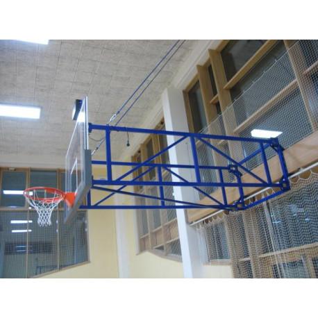 Otočná basketbalová konstrukce, interiér - vysazení od 2,5 m do 4 m