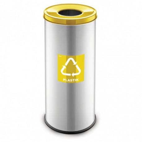 Koš na tříděný odpad RAVO, 45 L, stříbrný, plasty