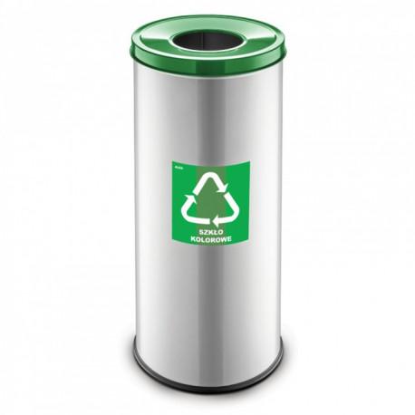 Koš na tříděný odpad RAVO, 45 L, stříbrný, sklo